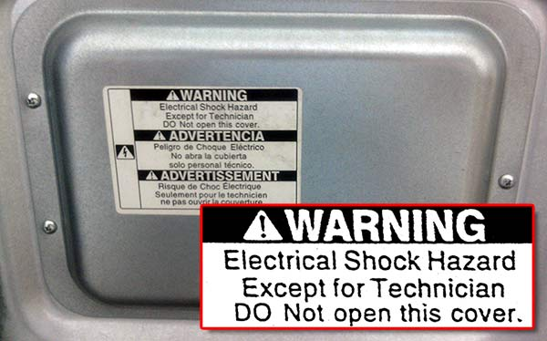 Electrical Shock Hazard - Except For Technician - DO Not Open This Cover.