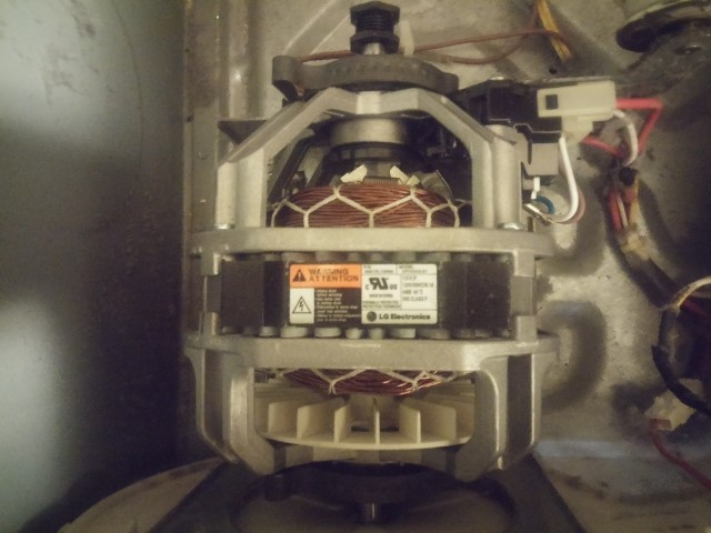 The brand-new motor installed into this LG Dryer to complete the LG Clothes Dryer Motor Repair.