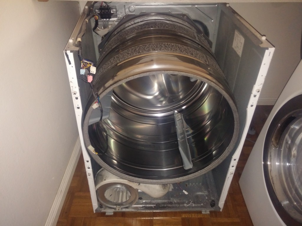Removed the front and top of the Samsung Clothes Dryer Heating Element Repair in Chula Vista